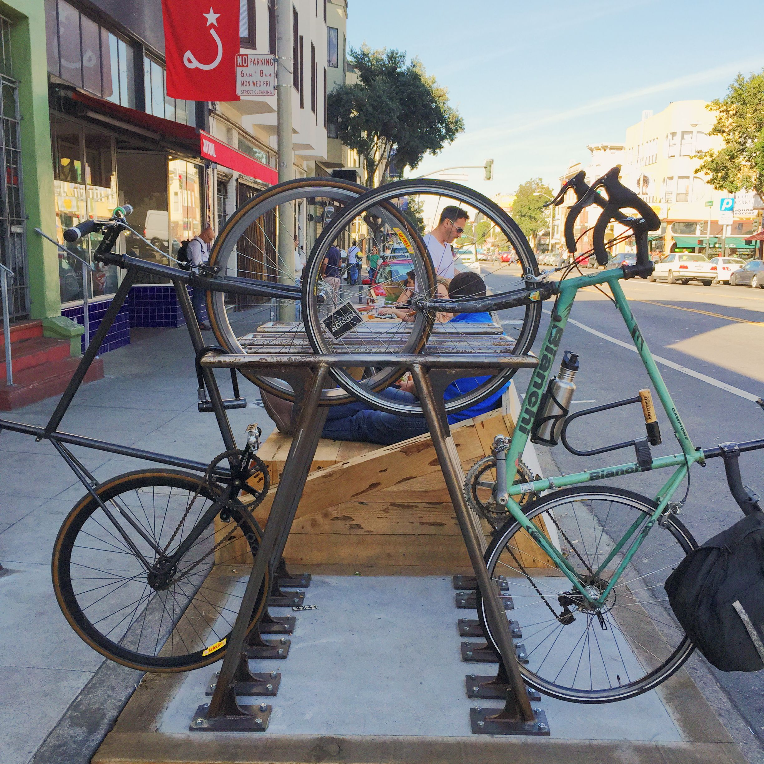 Cool bike rack design in this San Francisco parklet  Compact