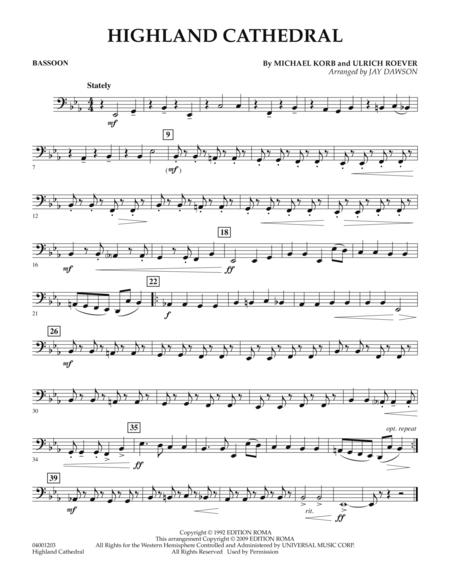 Highland Cathedral Bassoon Sheet Music Digital Sheet Music Bassoon
