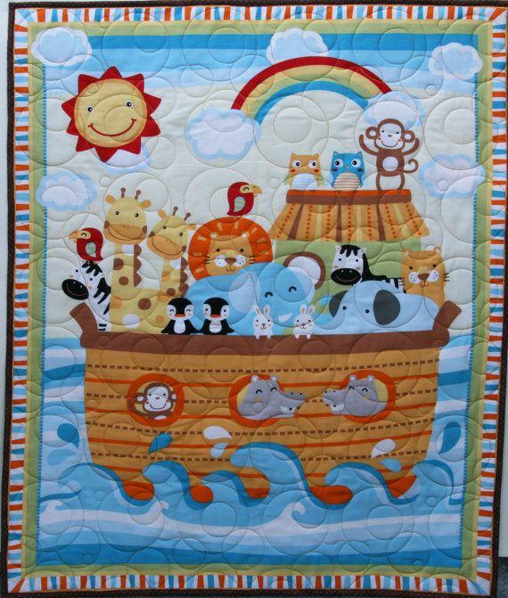 Crib quilt featuring Noah's Ark