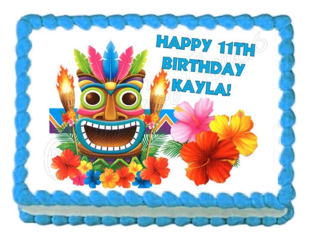 Tiki Hula Hawaiian Edible Cake Image Cake Topper (With