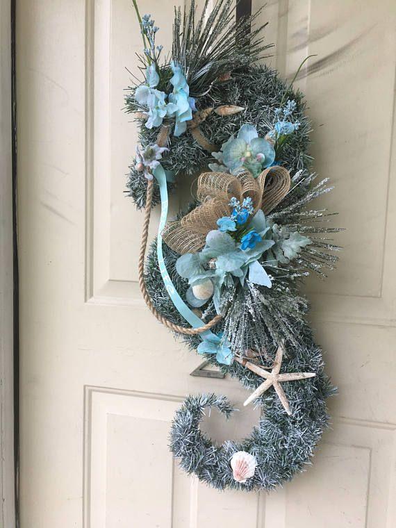 "Photo of Sea Horse wreath. ""Beach Life"" Sea Horse Door Decoration. Beachy Home Decor. Starfish and Shell wreath. Ocean lovers wreath or home Decor"