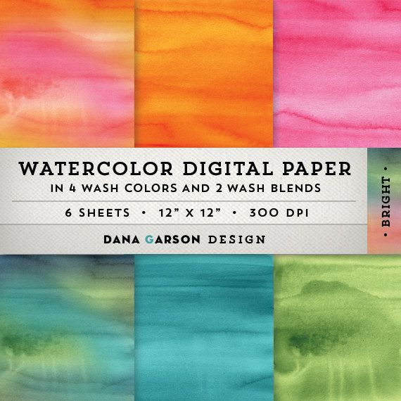 Watercolor Digital Paper Set, Instant Download, 6 sheets, printable scrapbooking digital collage clip art ClipArt, blue, pink, orange