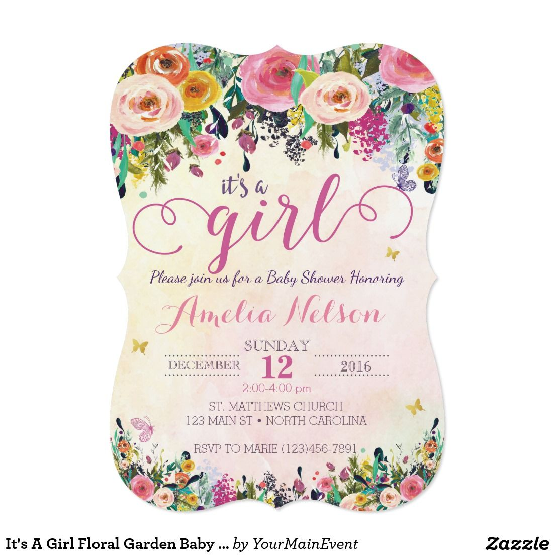 It\'s A Girl Floral Garden Baby Shower Invitation | Garden baby ...
