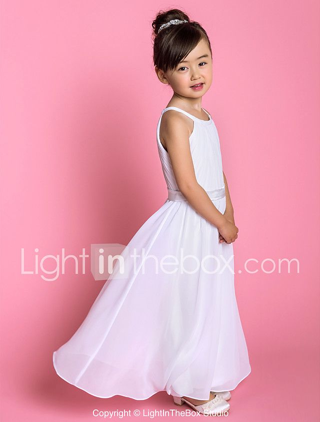 Una línea de longitud del piso vestido de niña de flores - gasa ...