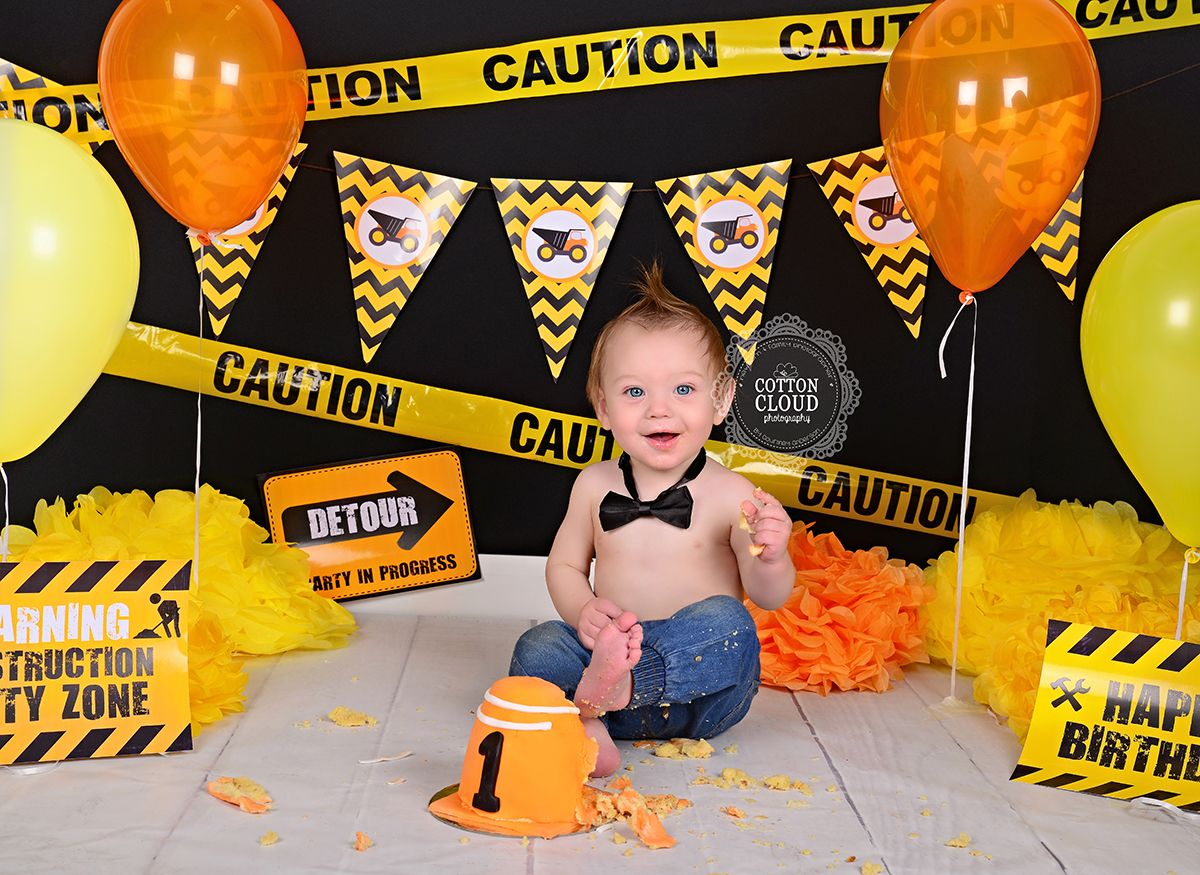 Cake Smash Baby First Birthday Cake Construction Cake Smash Construction Birthday Parties