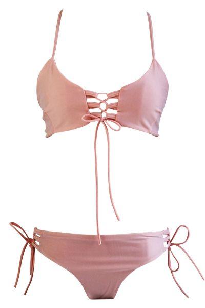 b45e0b443730e Hot Blush Lace-up Front Crossed Back Two Piece Swimwear | Fashion ...