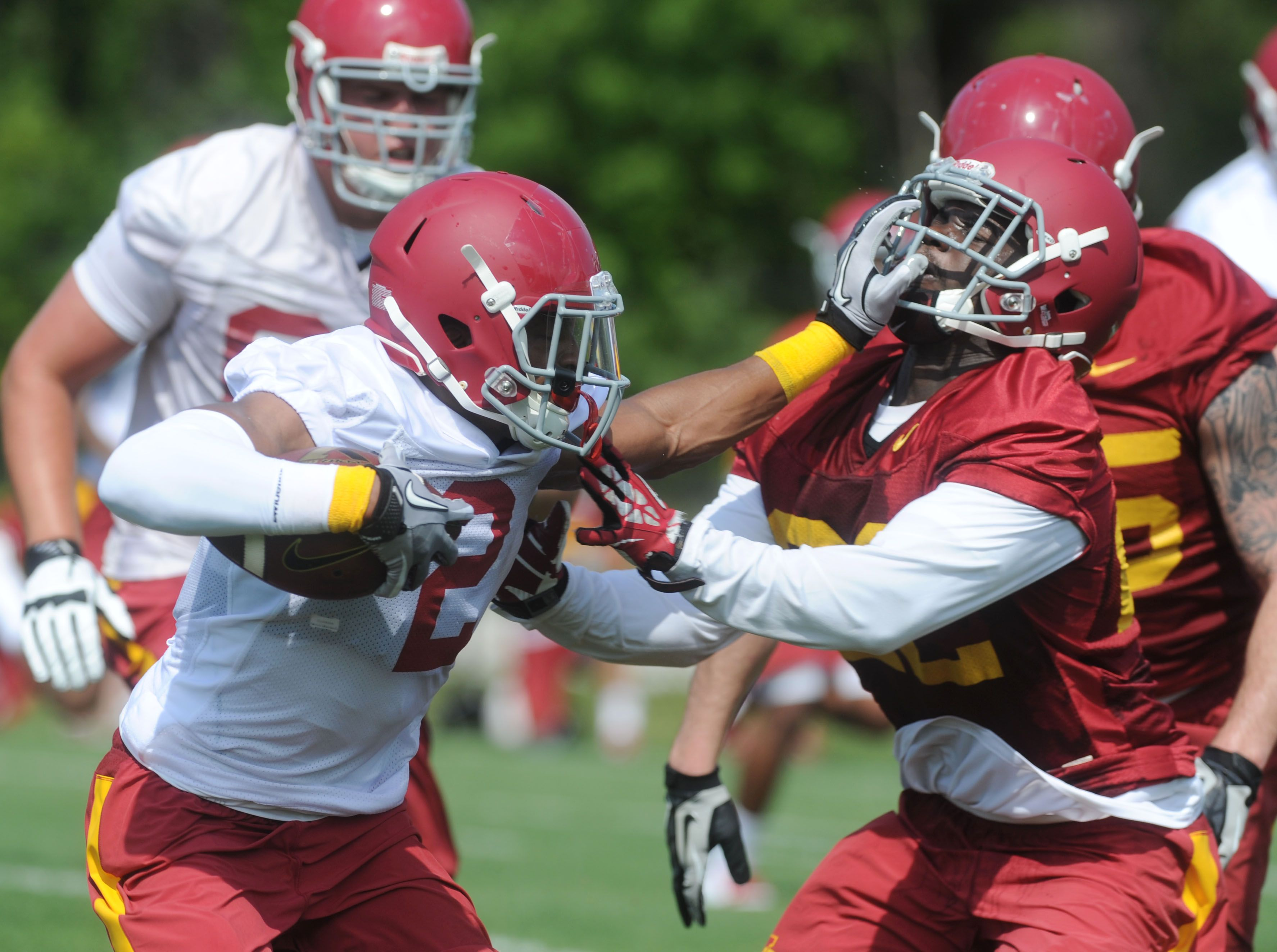 Iowa State Running Back Aaron Wimberly And Defensive Back T J Mutcherson Battle During The First Day Prac Iowa State Cyclones Football Helmets Defensive Back
