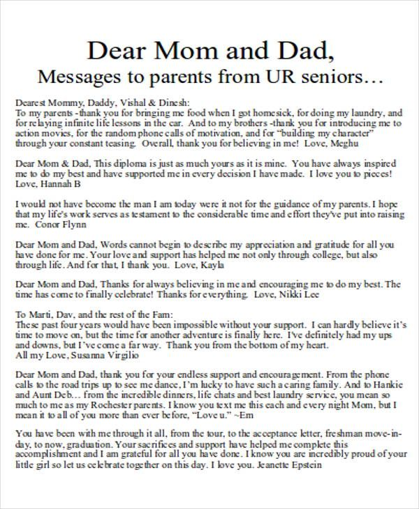 Letter Mom And Dad From Son Family Letters Welcome Our Website