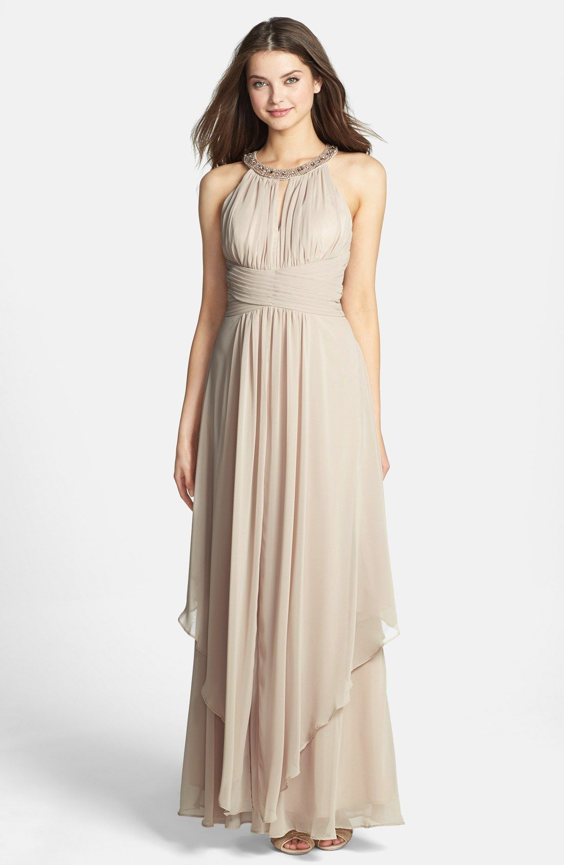 Free shipping and returns on Eliza J Embellished Tiered Chiffon ...