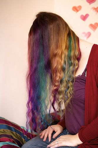 Rainbow hair dye. Pravana red, violet, green, yellow, and Special effects blue velvet.
