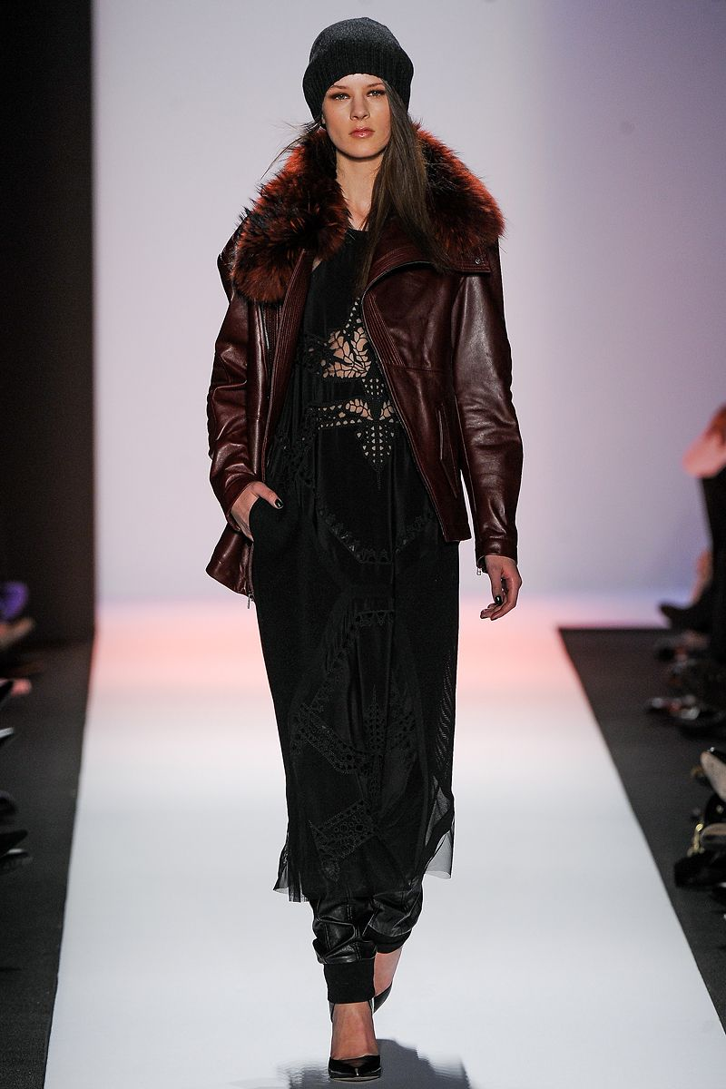 At the BCBG Max Azria show, leather and fur is combined to give an edgy and youthful look for fall 2013. Using the fur only along the collar keeps the look lighter, and the leather in burgundy, that seems to still be going strong, keeps the look fresh.