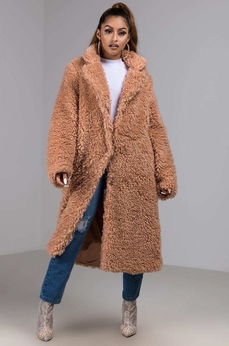 Front View Shaggy Lady Long Coat In Blush Long Coat Women Long Sleeves Coats Coat [ 1209 x 800 Pixel ]