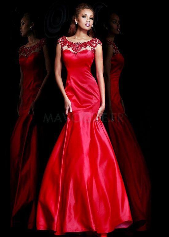 Robe De Soirée Avec Perle Sirène Décolleté Dans Le Dos Formelle Modeste Classique & Intempore #partie #red #robe #mode