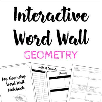Geometry Interactive Word Wall with Notebook (120+ words