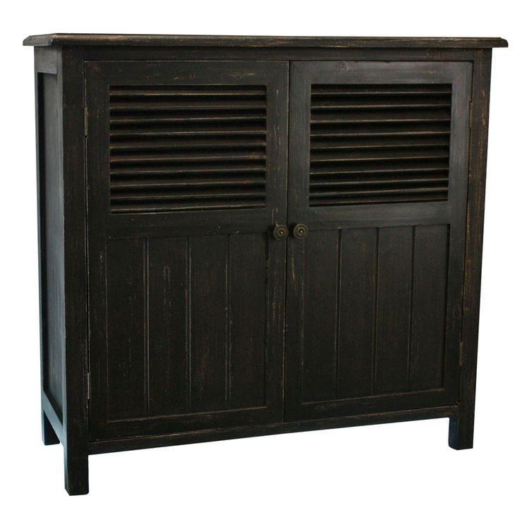 Black Distressed Two Door Shutter Cabinet Shutter Doors Cabinet Distressed Storage Cabinet