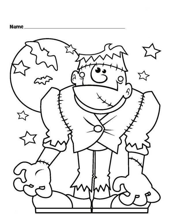 Halloween monster frankenstein and bats coloring page download print online coloring pages for free