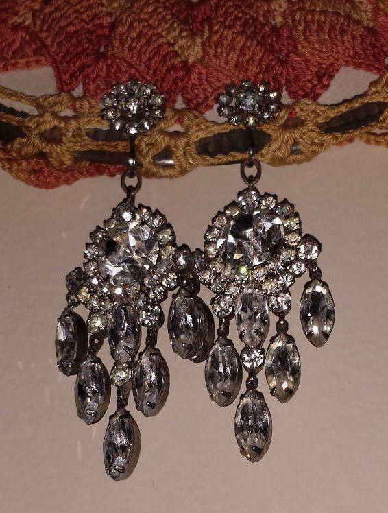 Antique Vintage Large Chandelier Rhinestone Earrings Belly