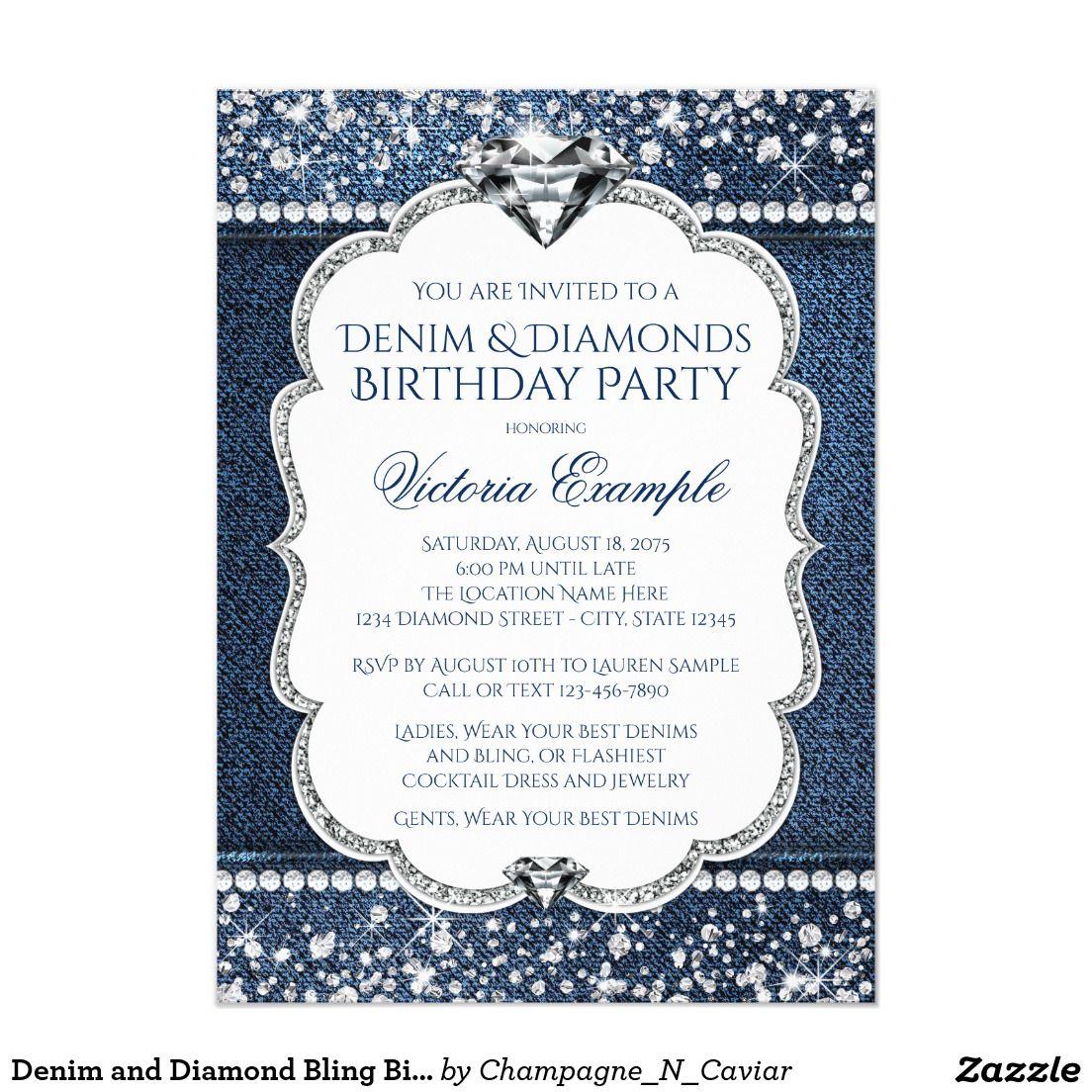 Denim and Diamond Bling Birthday Party Invitations   Birthday ...