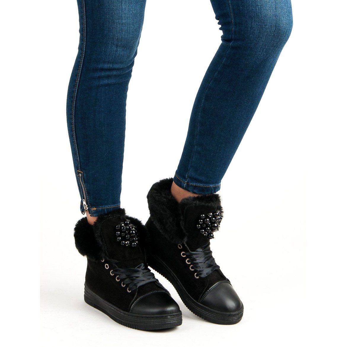Trampki Damskie Butymodne Czarne Ocieplane Trampki Butymodne Boots Shoes Winter Boot