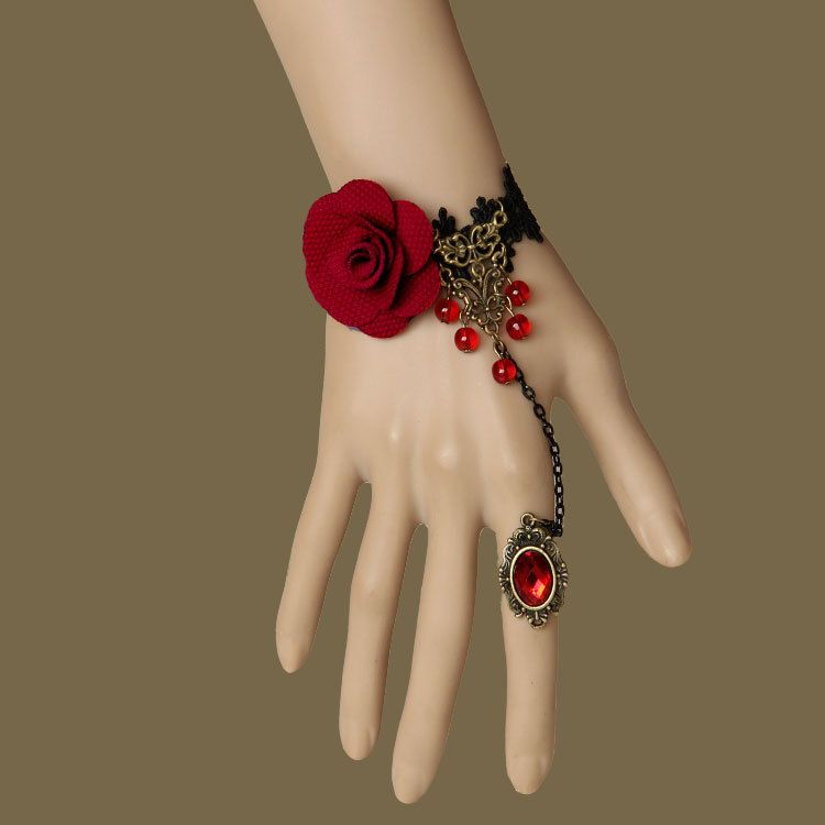 2pcs/lot NEW Design Vintage Red Flower Charm Bracelet Black Lace ...