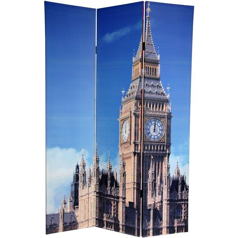 6 Ft. Tall Double Sided London Room Divider   Big Ben/Phone Booths