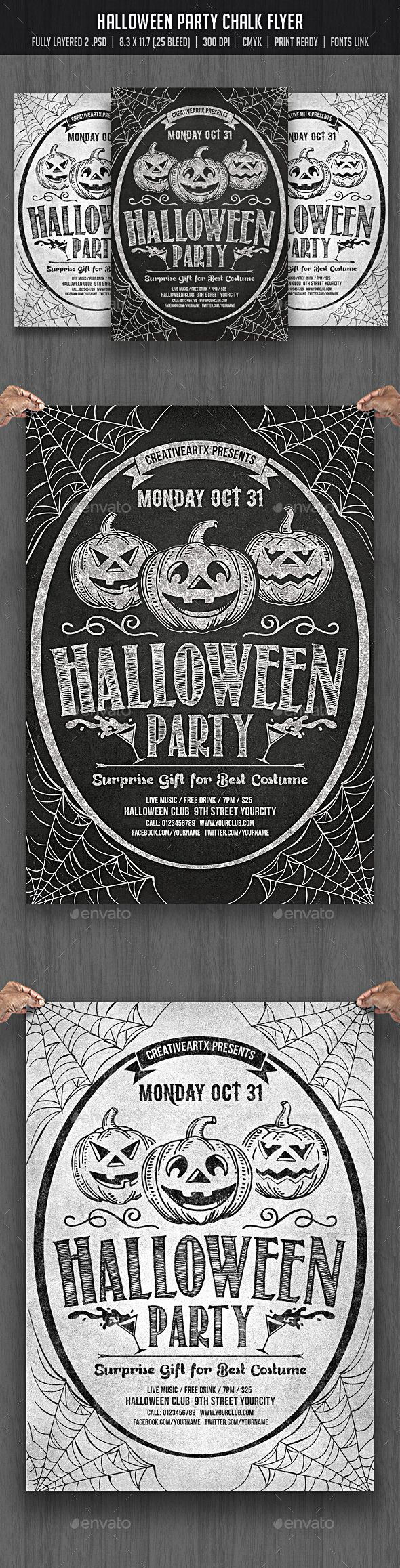 Halloween Party Chalk Flyer | Flyers, Halloween and Event flyers