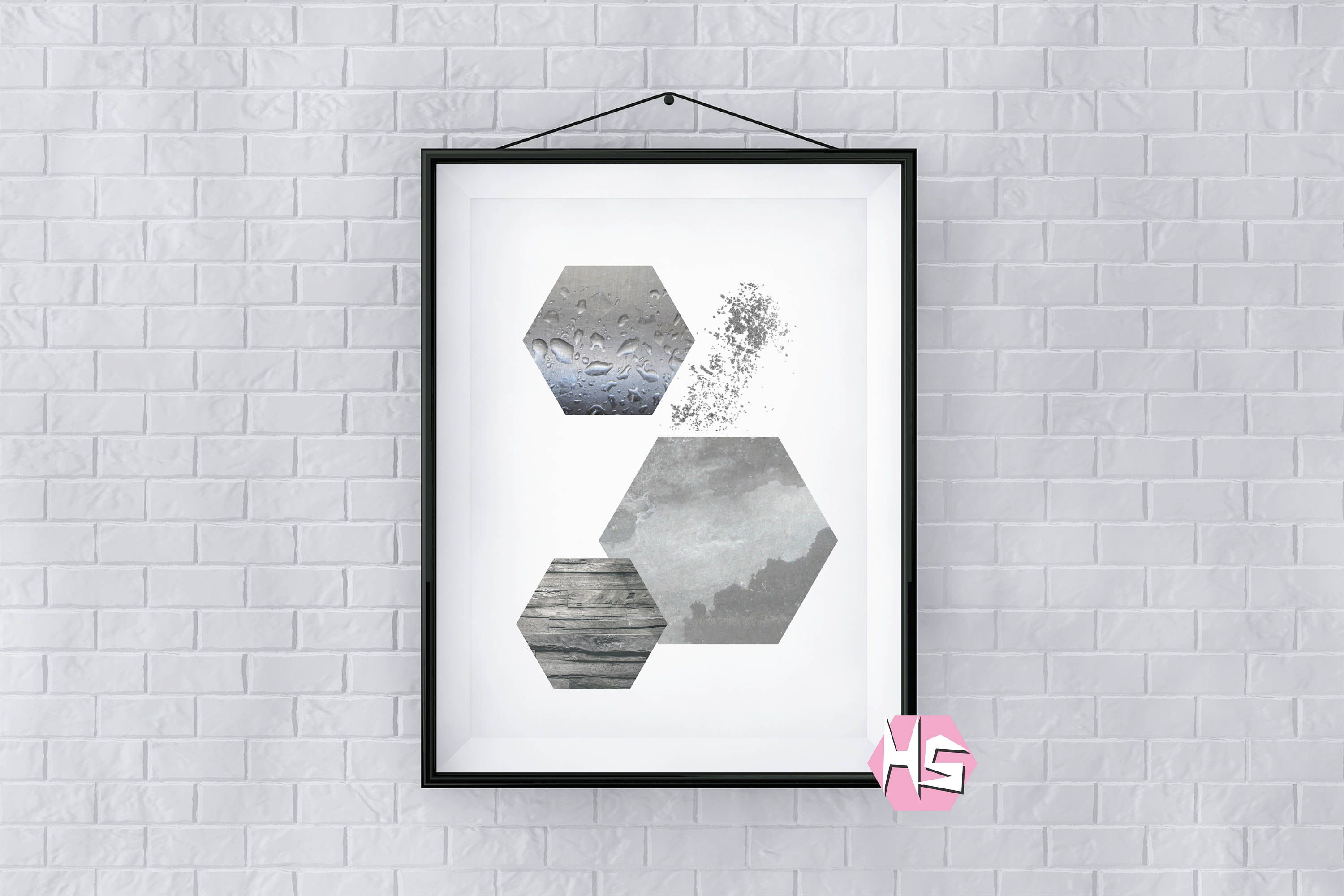 Grey living room ideas wall art natural honeycomb hexgaon slate