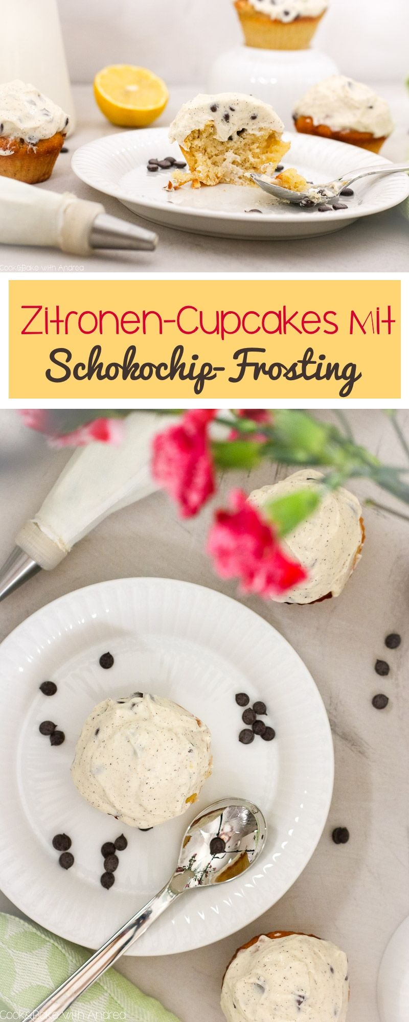 Zitronen-Cupcakes mit Schokochip-Frosting #lemonfrosting