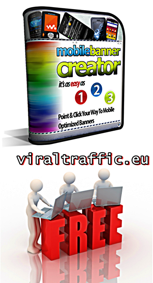 Free Mobile Banner Creator, Get It Here http://viraltraffic.eu/free-mobile-banner-creator/ Are you using Mobile Marketing? Discover how you can make your own  great looking banners in minutes, using  the new free Mobile Banner Creator.    This will help you gain a massive edge  over your competition – Definitely a  must have tool for any serious Mobile  Marketer. #free #mobile #banner #creator
