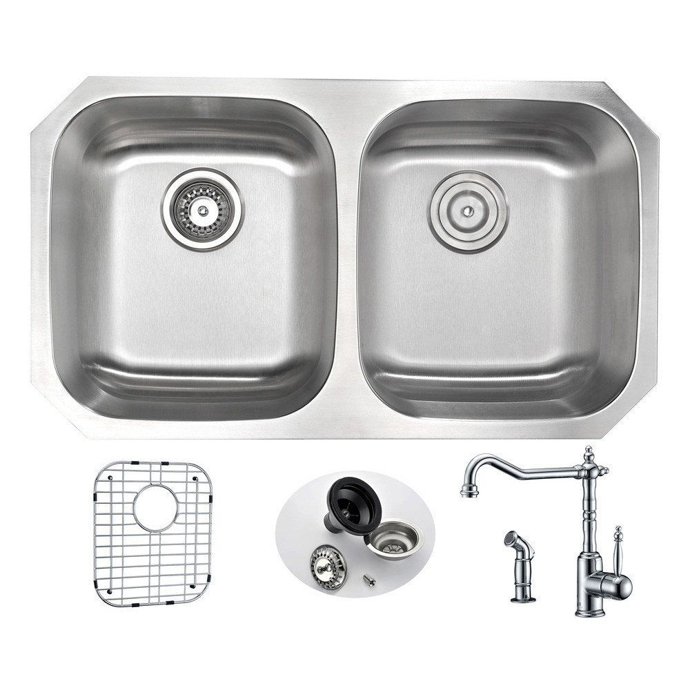 Ceco sinks kitchen sink - Anzzi Moore 32 Inch Undermount Double Bowl Kitchen Sink With Locke Polished Chrome Faucet