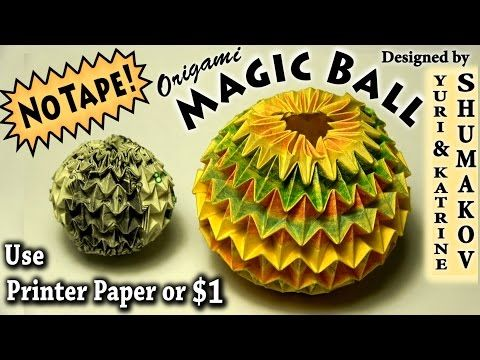 Origami Magic Ball No Tape Youtube Origami Instructions