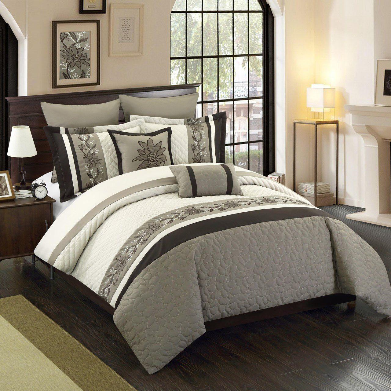 8 Piece Antwerpen Ivory Gray Comforter Set Bedding Sets Comforter Sets Mens Bedding Sets