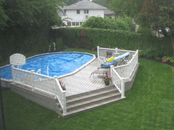 trex low maintenance material built around an above ground pool deck and pool pinterest ground pools