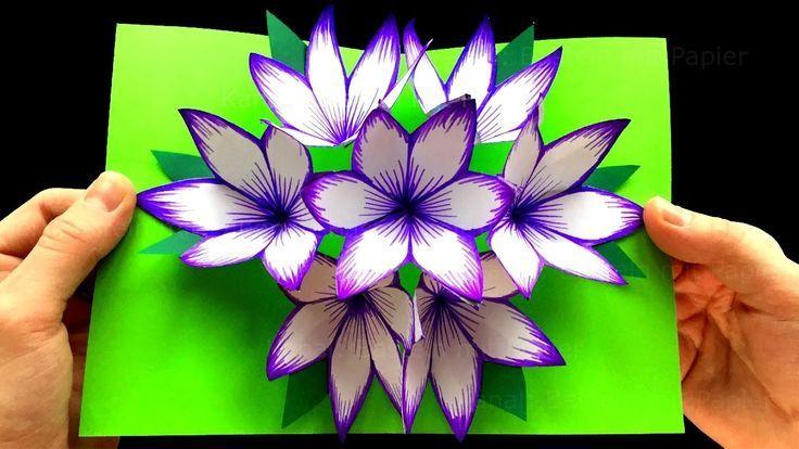Photo of Basteln mit Papier: DIY Blumen Pop-Up Karten – 3D. DIY Geschenke zum Muttertag basteln. Origami
