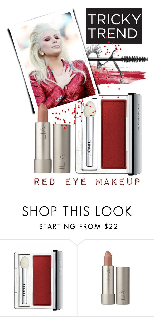 """""""red eye makeup"""" by vicuka ❤ liked on Polyvore featuring beauty and Clinique"""