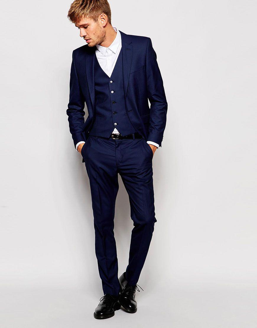 image 1 of selected homme slim wedding suit in navy. Black Bedroom Furniture Sets. Home Design Ideas