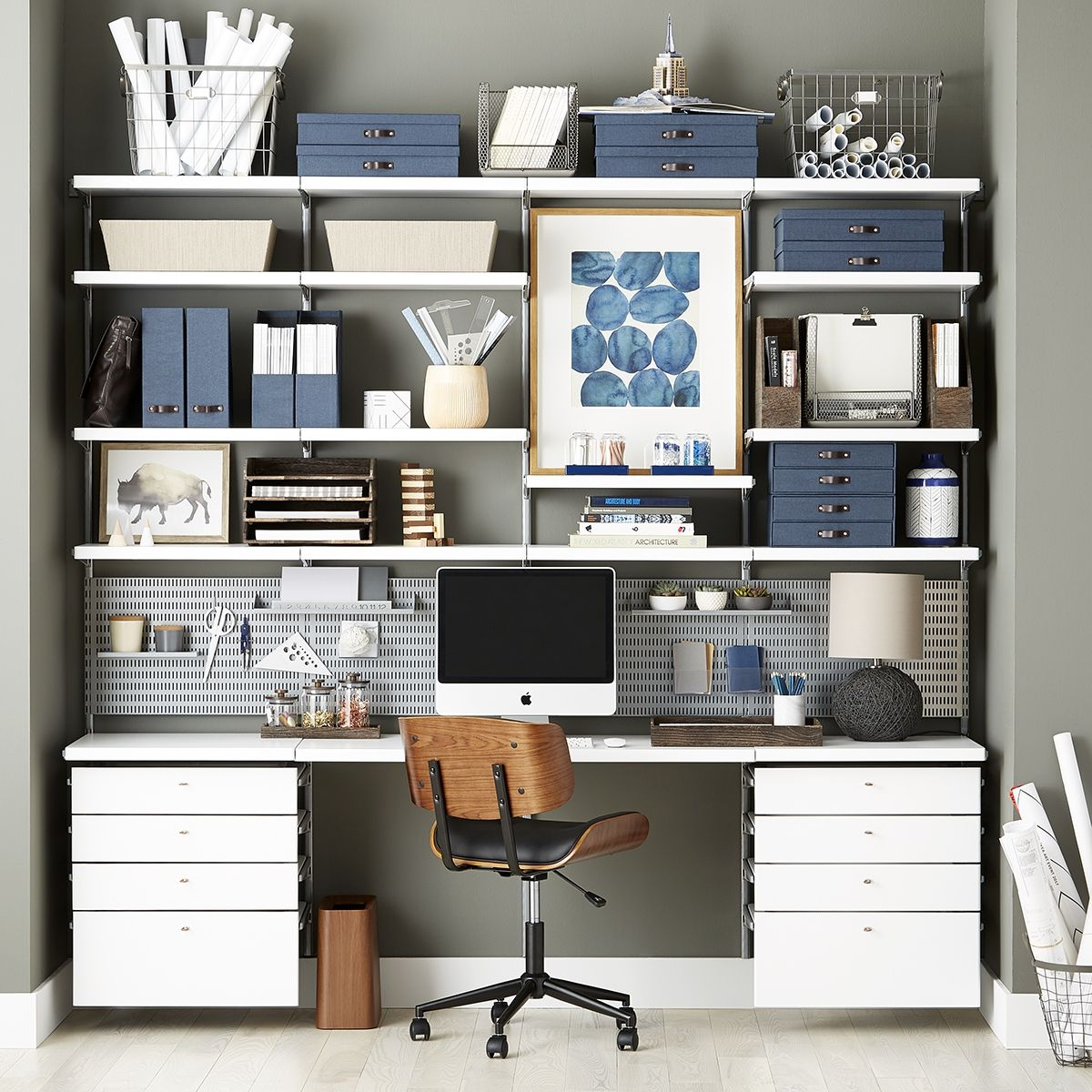 Create A Custom Home Office Solution With A Modular Shelving Designed For Your Unique Needs Office Shelving Office Wall Shelves Home Office Design