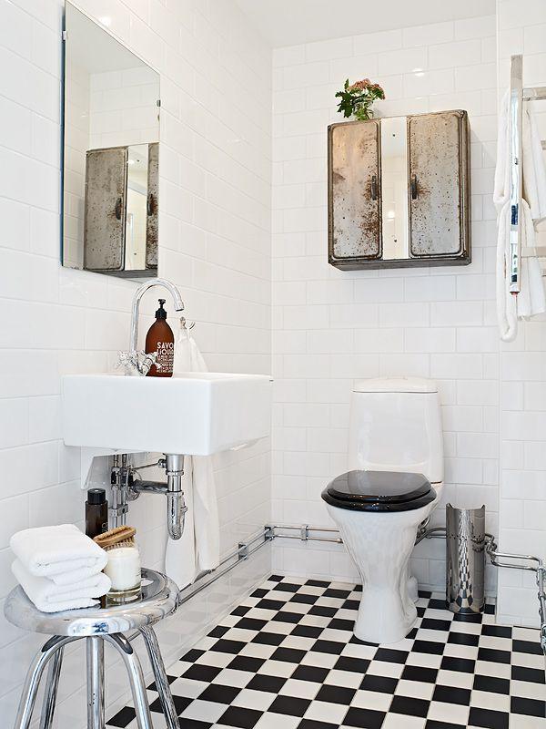 schwarz weiss floor Pinterest Weiss, Schwarzer und - badezimmer 50er jahre