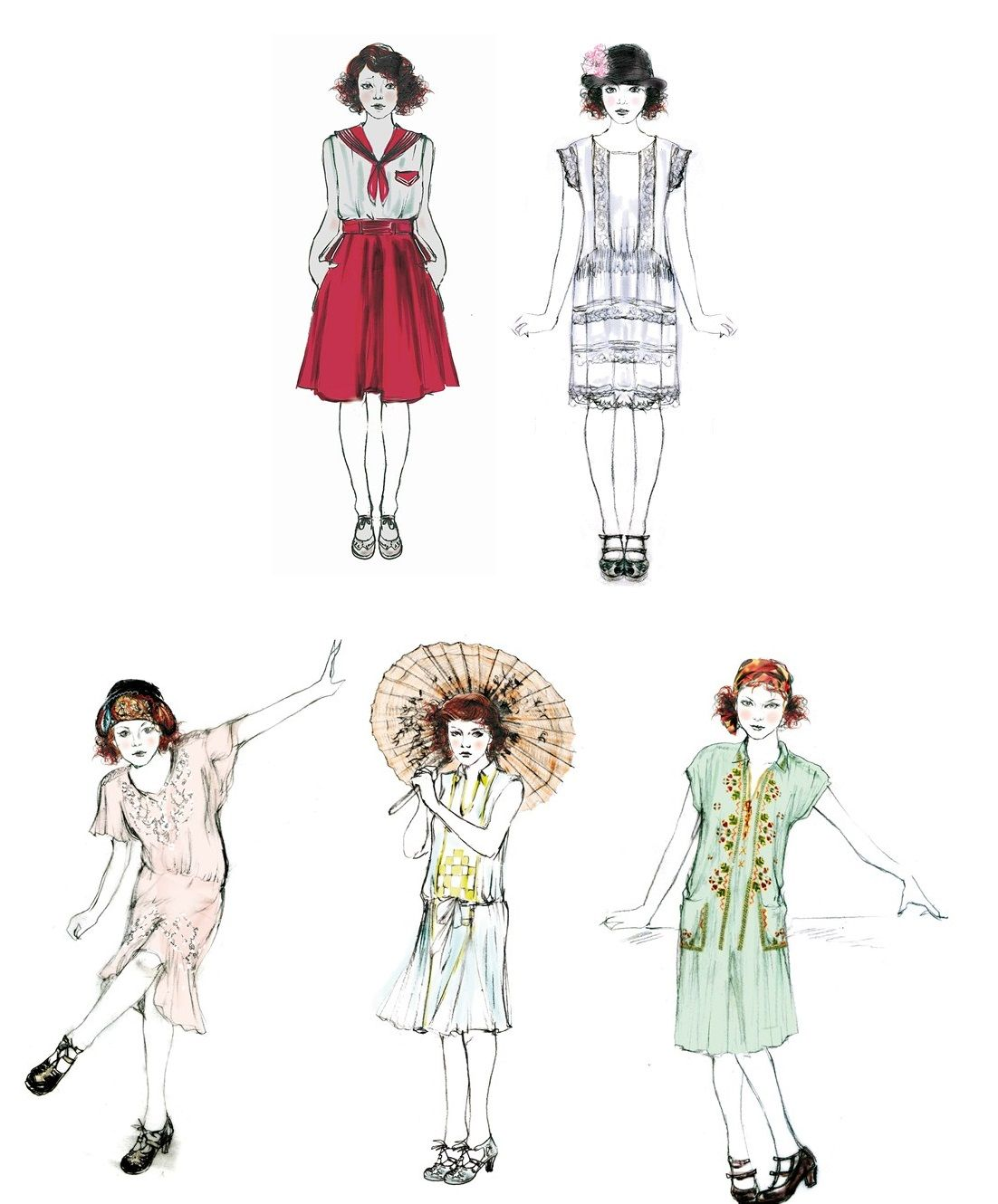 Sonia Grande's sketches for Emma Stone's Magic in the Moonlight costumes