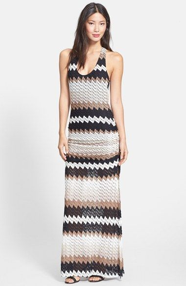 Sky 'Hiabi' Stripe Crochet Back Maxi Dress available at #Nordstrom
