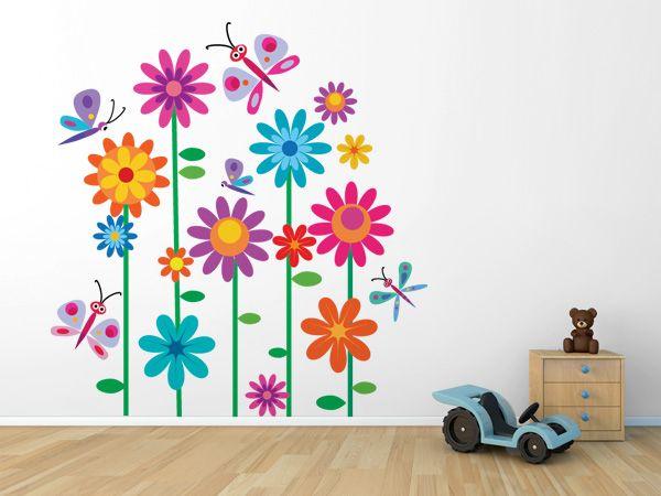Flores y mariposas de colores vinilos decorativos bebe for Vinilos mariposas