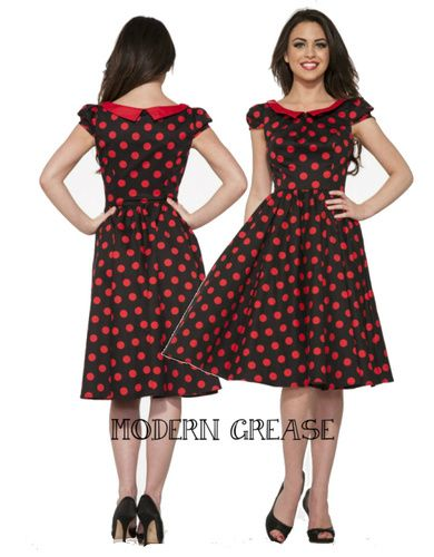 3232e985a64e H&R London Betty Black Red Polka Dot Swing Dress - Modern Grease Clothing  and Accessories Co.