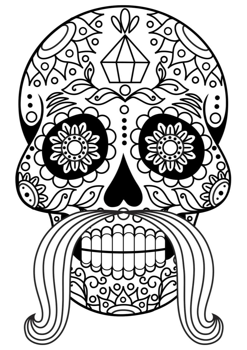 24++ Day of the dead skull coloring page info