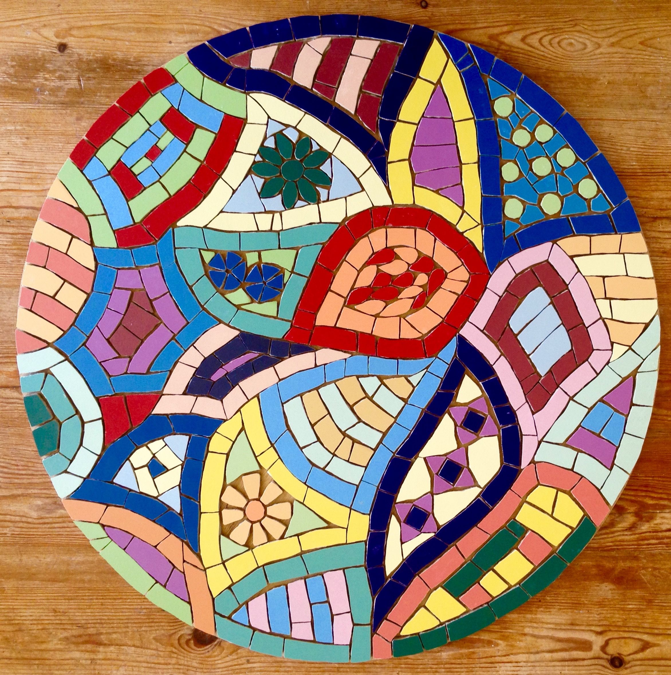 Pin by felicity ball mosaics on mosaic furniture for the for Mosaic landscape design
