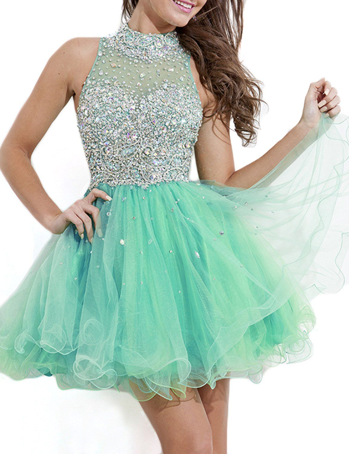 Seasonmall womens short prom dresses a line high neck tulle