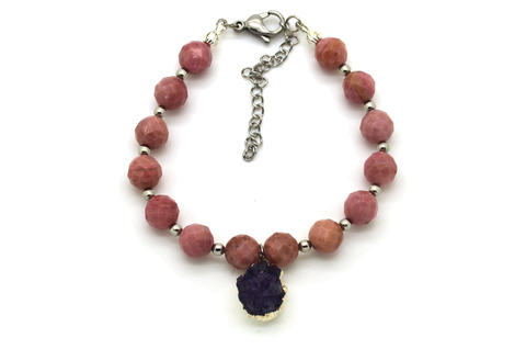 Amethyst & Rhodanite Bracelet