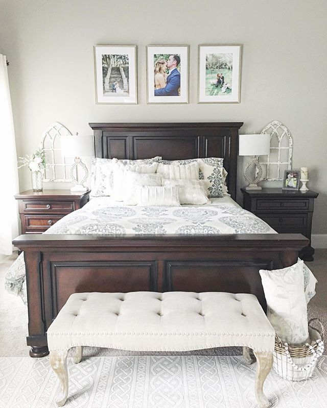 outstanding dark wood bedroom sets | This bedroom is full of farmhouse charm! Thanks for ...