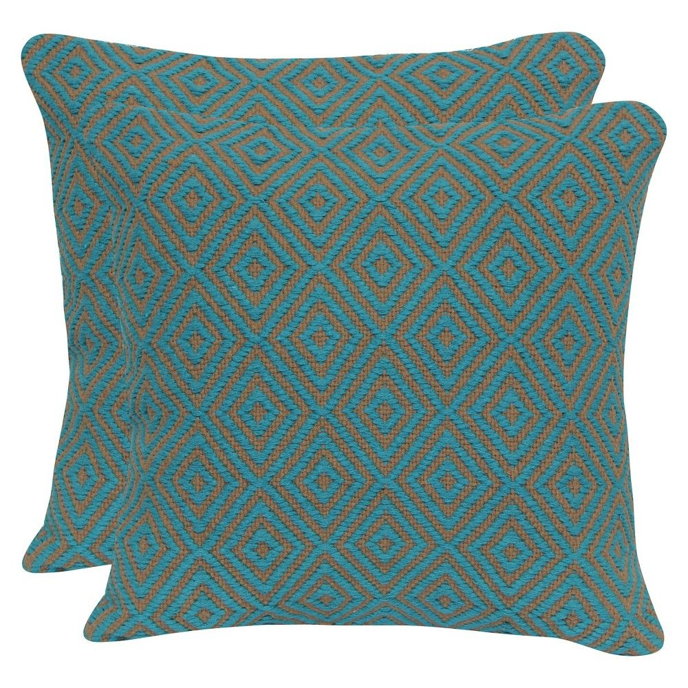 Turquoise Diamond Jute & Cotton Throw Pillow With Canvas Back (20X20) - Brentwood