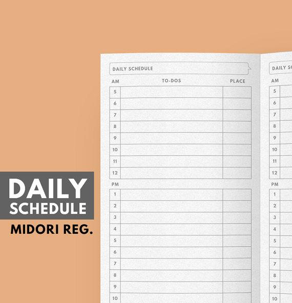 photograph about Midori Insert Printable titled Midori Incorporate, Every day Agenda Printable, Midori Refill