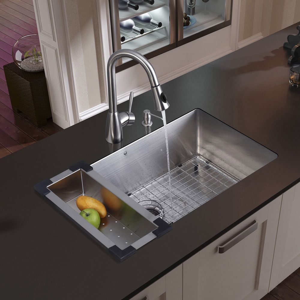 nice Vigo Sinks And Faucets Part - 1: Vigo Undermount Stainless Steel Kitchen Sink- Faucet- Colander- Grid-  Strainer- Dispenser